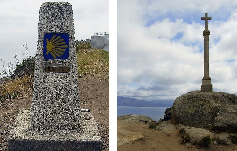 0-Kilometer-Stein am Kap Finisterre