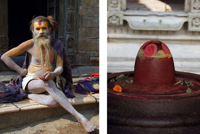 Sadhu und Lingam in Pashupatinath